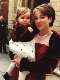 Kate Livermore's sewing skills, modelled by my sister and niece at my wedding 2001
